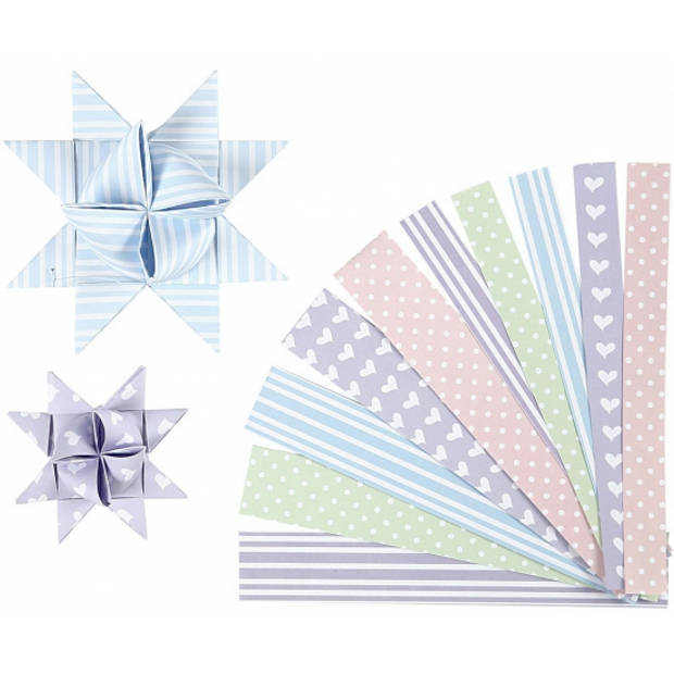 Papieren stroken pastel 60 stuks
