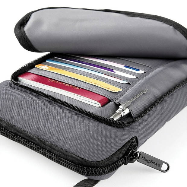 Documenten/reis tasje grijs 19 cm - Compact reistasje
