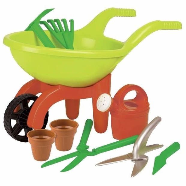 Speelgoed kruiwagen tuinset 9-delig