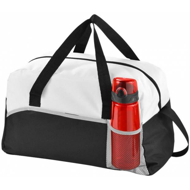Duffel bag zwart/wit 43 cm - Duffeltassen voor op reis - Weekendtassen/sporttasen