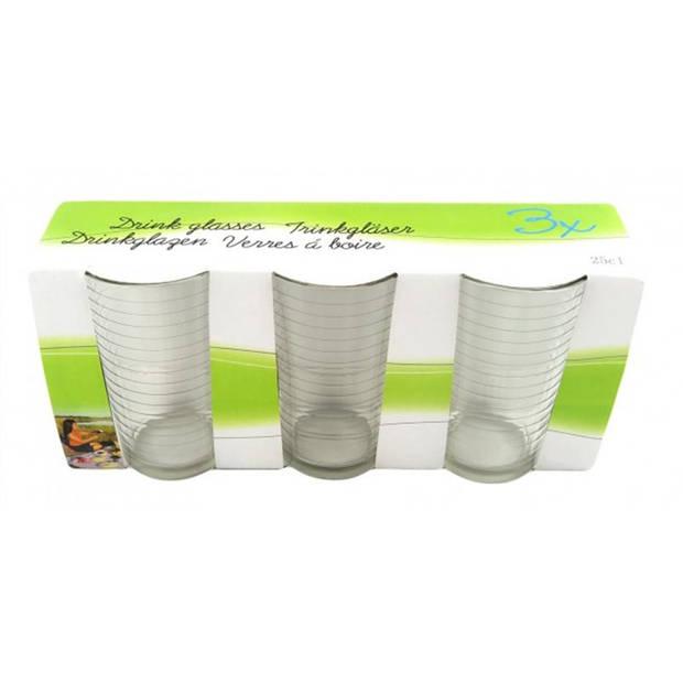 Drinkglas ribbel 22 cl 3 dlg drinkglazen