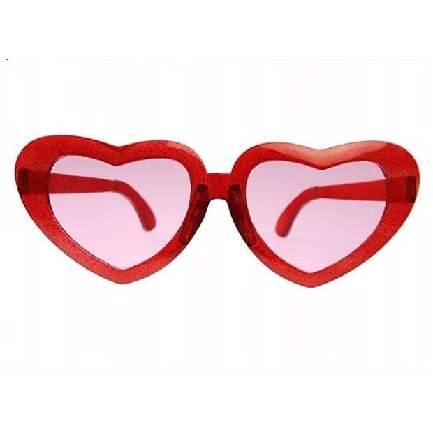 Grote bril met hartjes montuur 23 cm