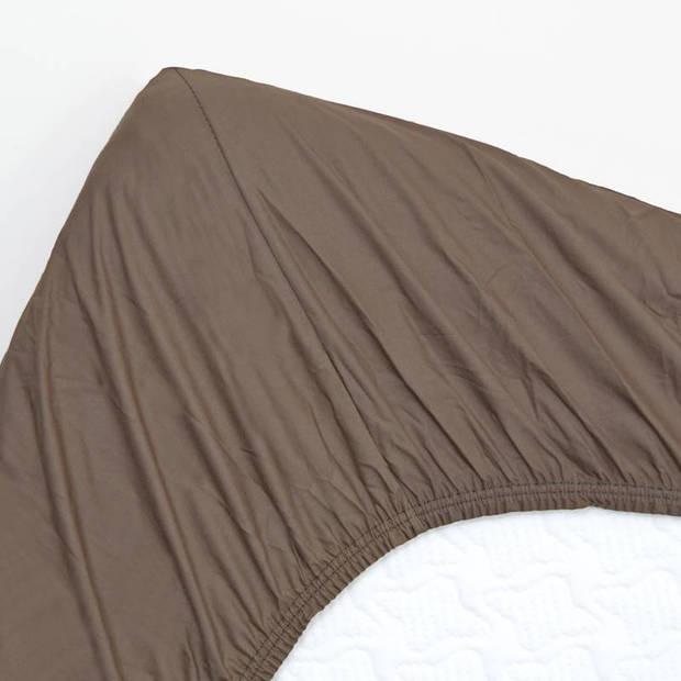 Snoozing - Katoen - Hoeslaken - 120x220 - Bruin