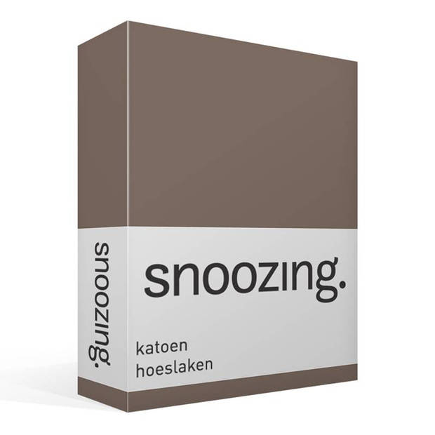 Snoozing - Katoen - Hoeslaken - 200x200 - Bruin