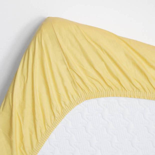 Snoozing - Katoen - Hoeslaken - 180x210 - Geel
