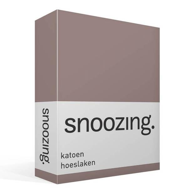 Snoozing - Katoen - Hoeslaken - 200x220 - Taupe