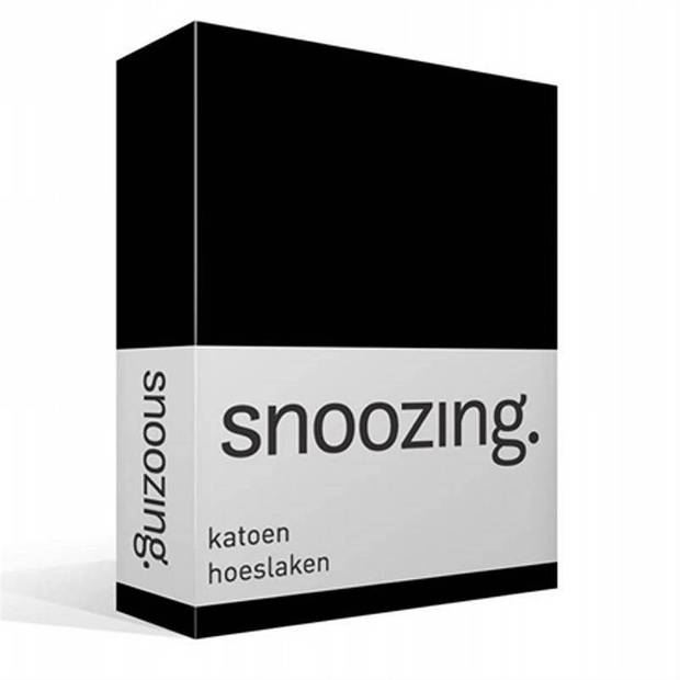 Snoozing - Katoen - Hoeslaken - 180x220 - Zwart