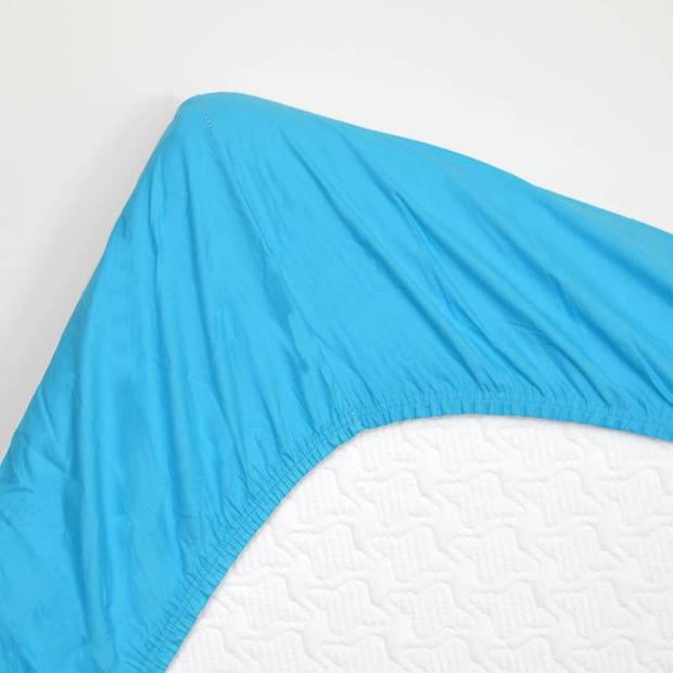 Snoozing - Katoen - Hoeslaken - 160x210 - Turquoise