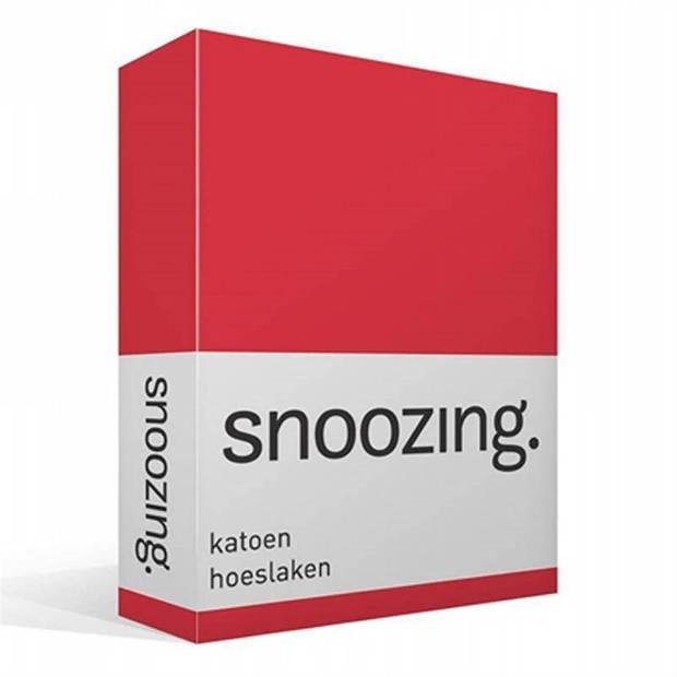 Snoozing - Katoen - Hoeslaken - 150x200 - Rood