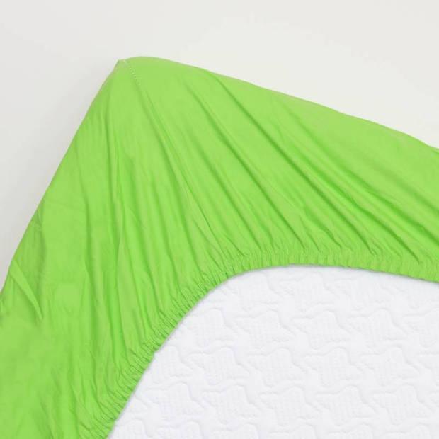 Snoozing - Katoen - Hoeslaken - 150x200 - Lime