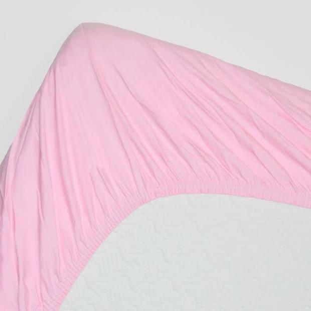 Snoozing - Katoen - Topper - Hoeslaken - 150x200 - Roze