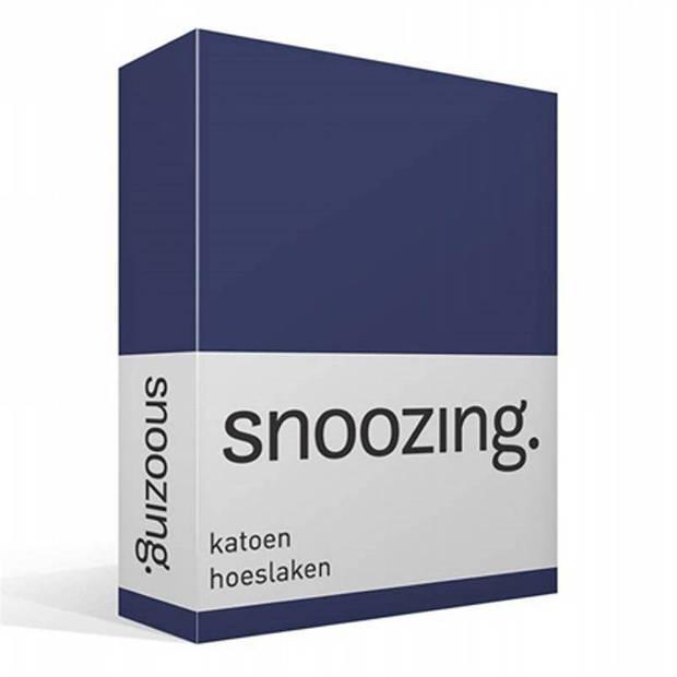 Snoozing - Katoen - Hoeslaken - 140x200 - Navy