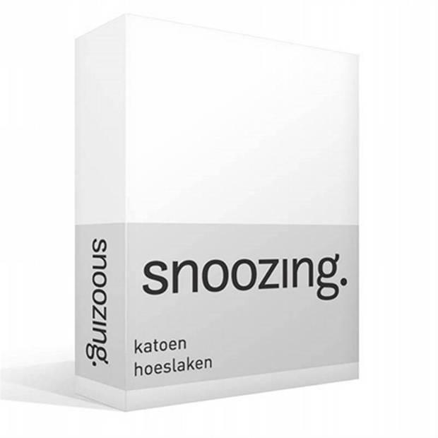 Snoozing - Katoen - Hoeslaken - 200x220 - Wit