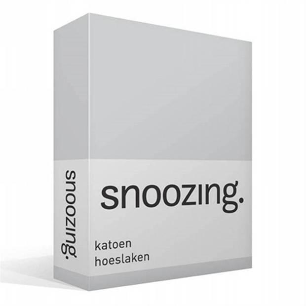 Snoozing - Katoen - Hoeslaken - 200x220 - Grijs