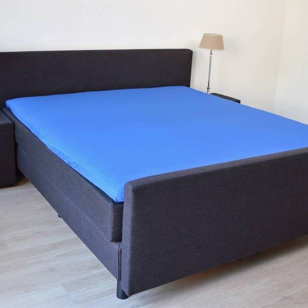 Snoozing - Flanel - Topper - Hoeslaken - 120x200 cm - Blauw