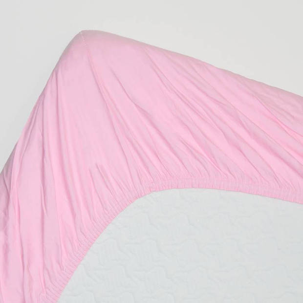 Snoozing - Katoen - Extra Hoog - Hoeslaken - 180x220 - Roze