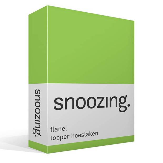 Snoozing - Flanel - Topper - Hoeslaken - 120x200 cm - Groen