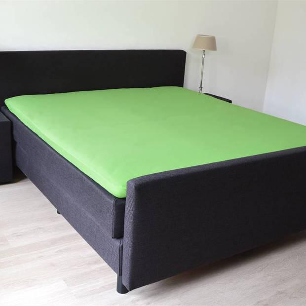 Snoozing - Flanel - Topper - Hoeslaken - 160x220 cm - Groen