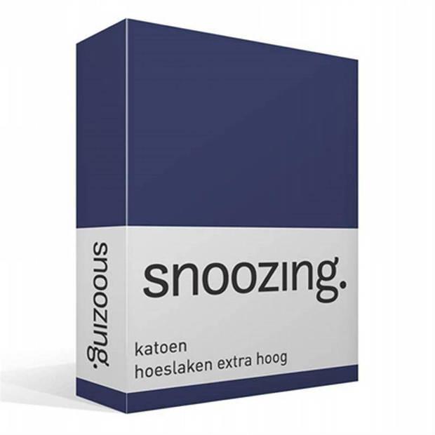 Snoozing - Katoen - Extra Hoog - Hoeslaken - 200x200 - Navy