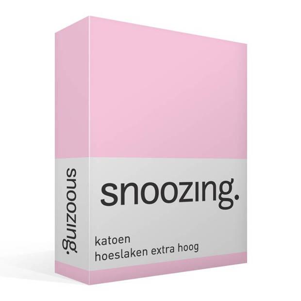 Snoozing - Katoen - Extra Hoog - Hoeslaken - 150x200 - Roze