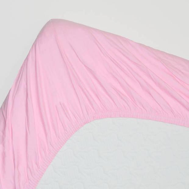 Snoozing - Katoen - Extra Hoog - Hoeslaken - 160x220 - Roze