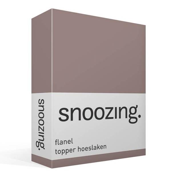 Snoozing - Flanel - Topper - Hoeslaken - 80x200 cm - Bruin