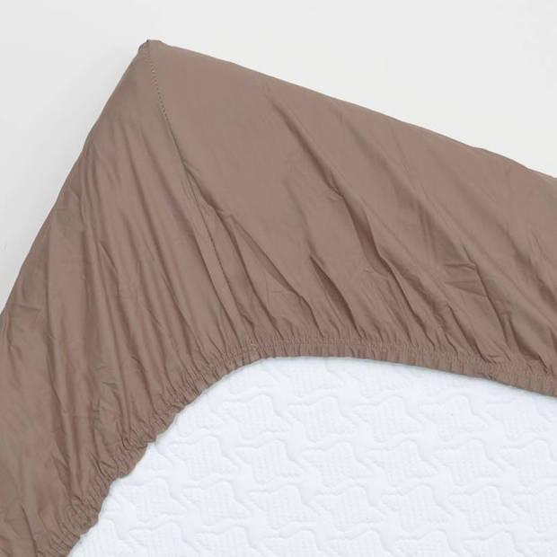 Snoozing - Flanel - Topper - Hoeslaken - 160x200 cm - Bruin