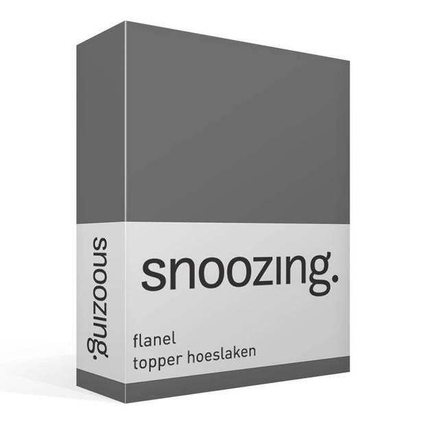 Snoozing - Flanel - Topper - Hoeslaken - 90x220 cm - Grijs