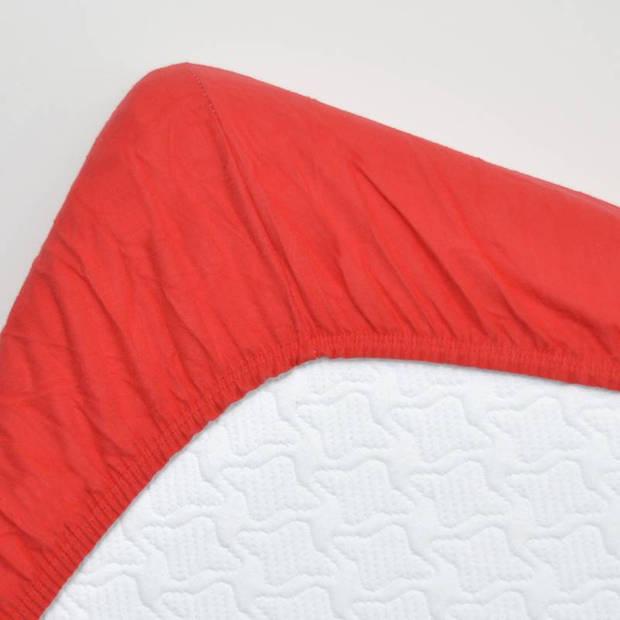 Snoozing - Flanel - Topper - Hoeslaken - 140x200 cm - Rood