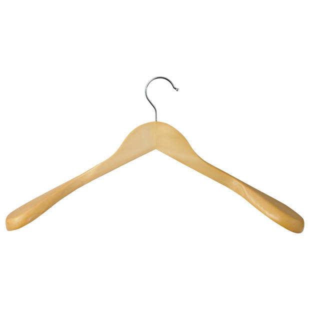 Blokker kledinghangers - hout - naturel - 2 stuks