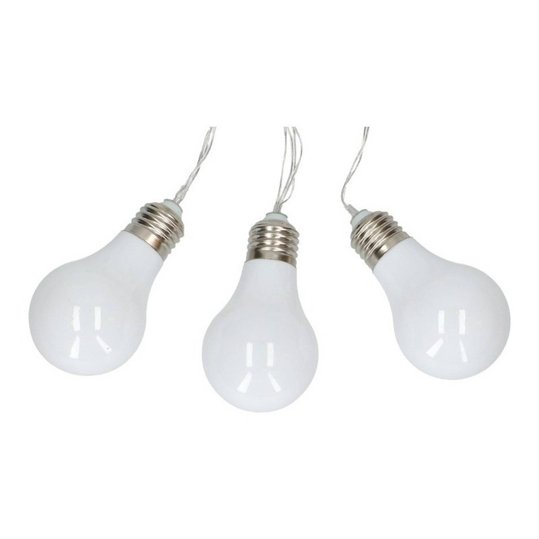 Merkloos Witte feestverlichting snoer op batterij - 165 cm - led lichtsnoer