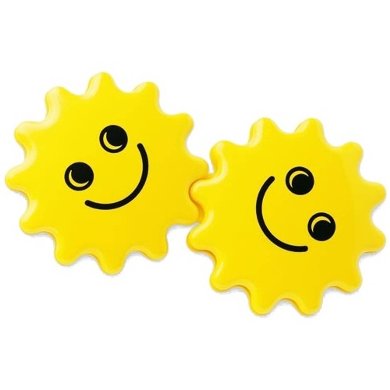 Afbeelding van Ambi Toys duo-rammelaar zonnetjes 15 cm geel