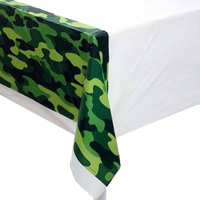 Afbeelding van Amscan tafelkleed leger 140 x 260 cm groen/wit