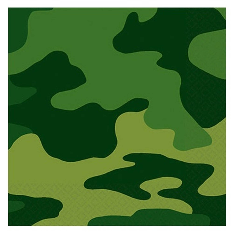 Afbeelding van Amscan servetten leger 20 stuks 25 cm groen