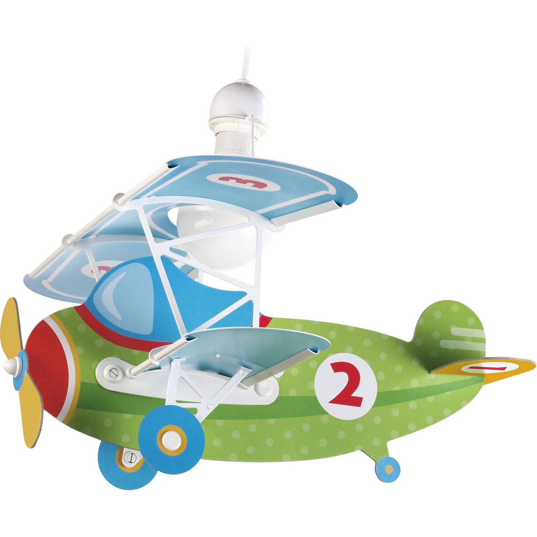 Dalber hanglamp Baby Plane 64 cm groen/blauw