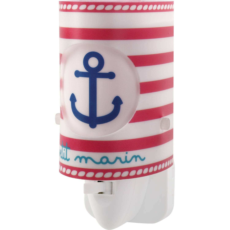 Dalber nachtlamp Petit Marin 13 cm wit/rood/blauw