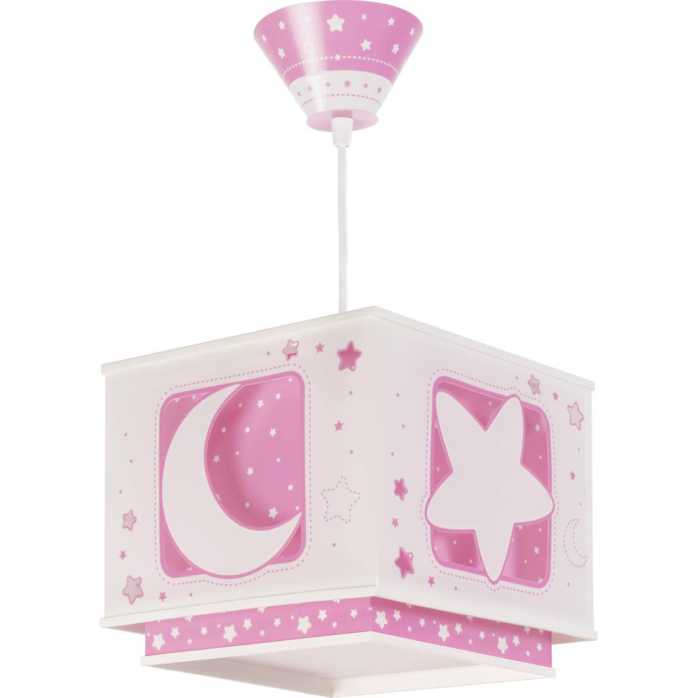 Dalber hanglamp Moonlight glow in the dark 24 cm roze