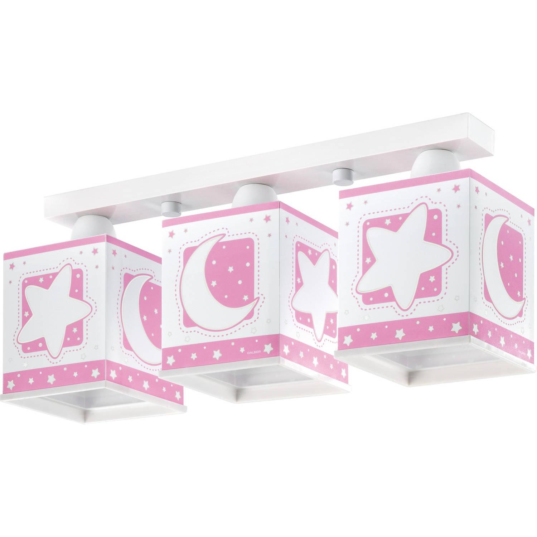 Dalber plafondlamp 3-lamps Moonlight 48 cm roze