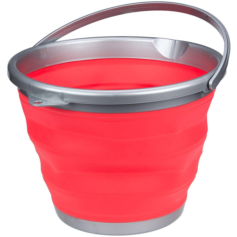 Afbeelding van Abbey Camp emmer opvouwbaar 15 liter rood/grijs