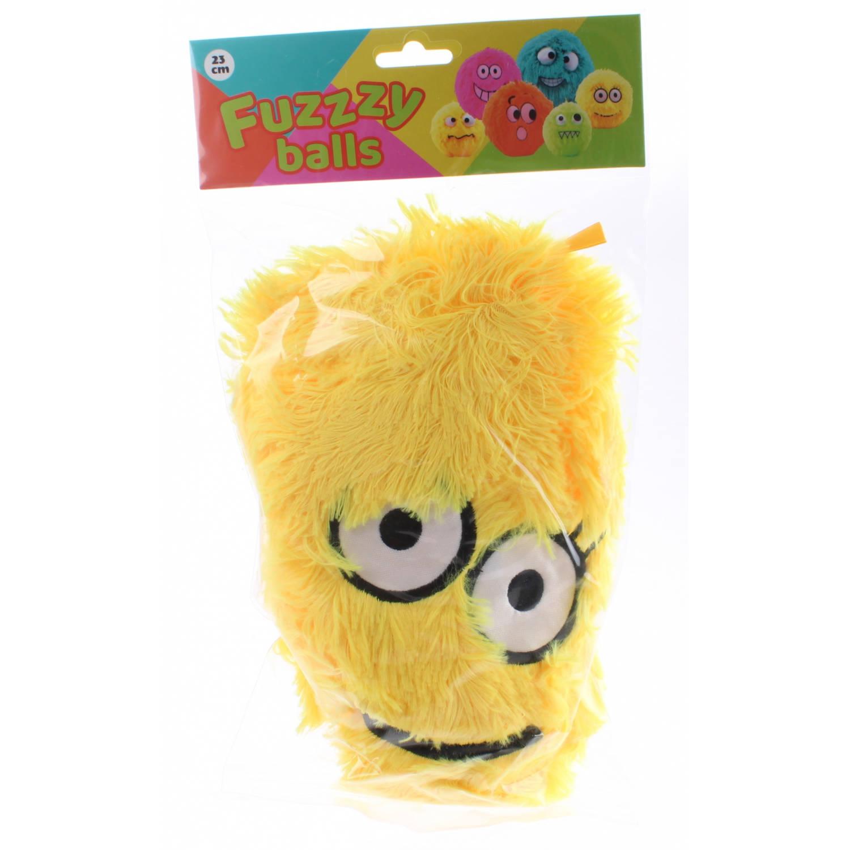 Johntoy Fuzzybal met gezichtje pluche 25 cm geel