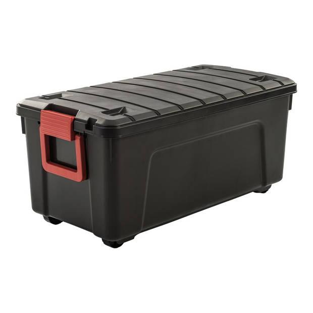 Iris Store It All opbergbox - 110 liter - zwart/rood