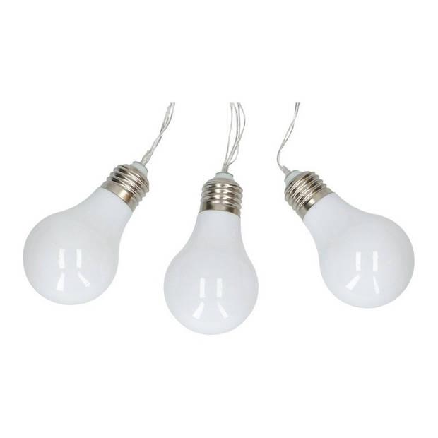 Witte feestverlichting snoer op batterij - 165 cm - LED lichtsnoer