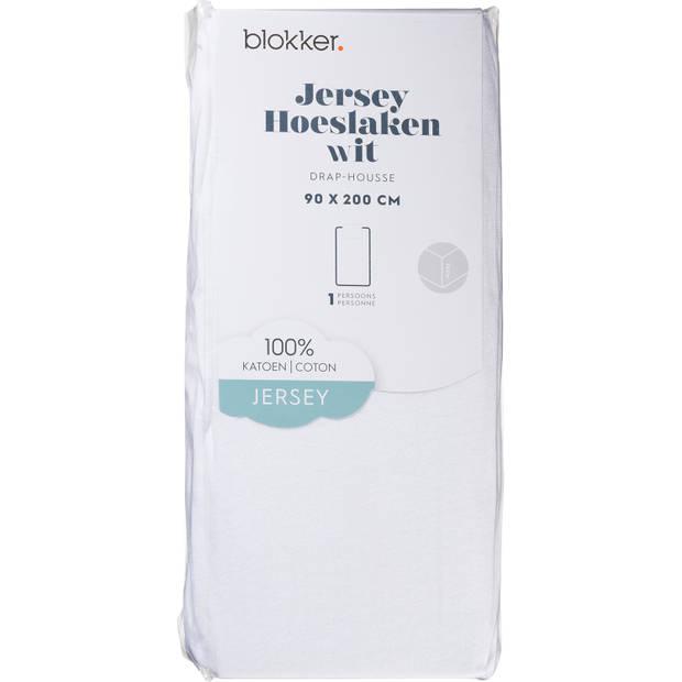 Blokker Hoeslaken Jersey Wit 90x200