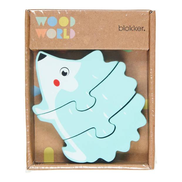 Blokker Wood World houten mini puzzel egel