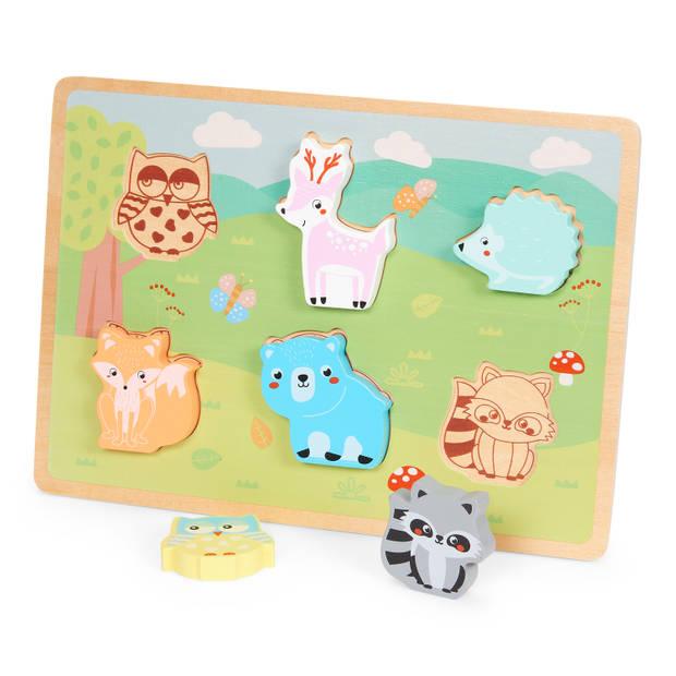 Blokker Wood World houten dierenpuzzel - 6 stukjes