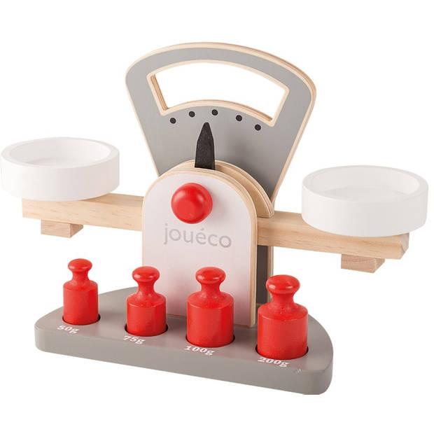 Jouéco houten speelgoed weegschaal 28 cm junior grijs/wit 5-delig