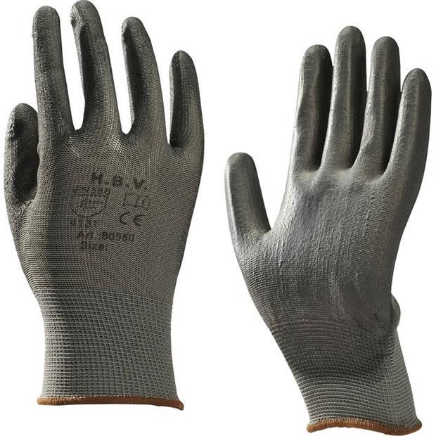 H.B.V. montagehandschoenen nylon/PU unisex grijs