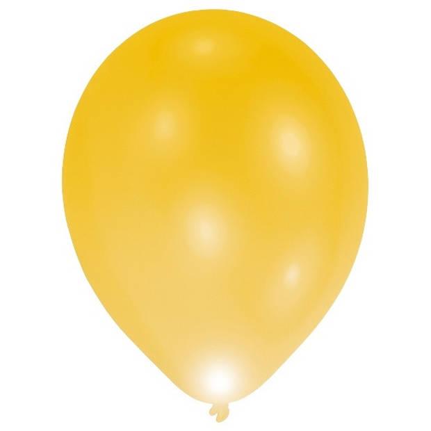 Balloominate ballonnen met led-verlichting 28 cm 5 stuks geel
