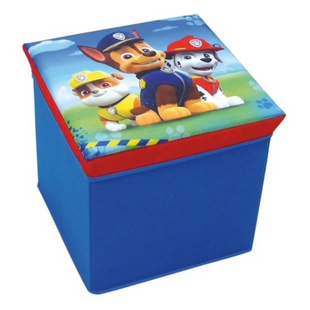 Nickelodeon Paw Patrol opbergmand/kruk blauw 30 x 30 x 30 cm