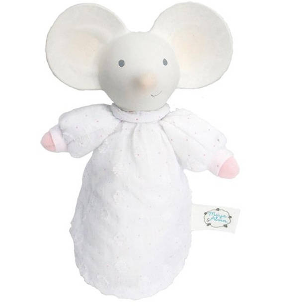 Meiya & Alvin knuffeltje met geluid Meiya de muis wit/roze 15 cm